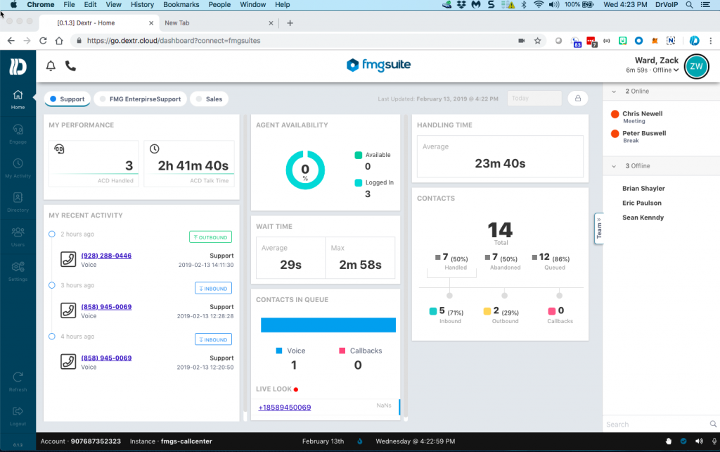 DextrDashBoard03072019-1024x642 AWS Connect Case Study -FMG Suites